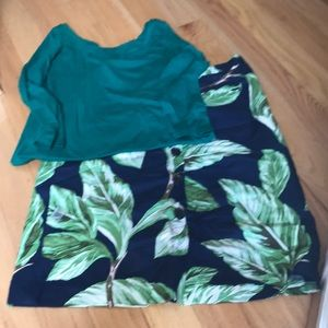 Bottom down cotton Green and Nay Blue skirt